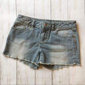 LC Lauren Conrad Blue & White Striped Jean Shorts